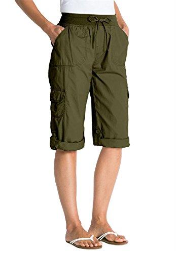 Woman Within Plus Size Capri Style Convertible Pants (Dark Basil,20 - Outlet Women