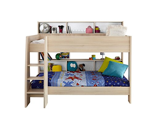 Parisot 2498LISU Contemporary Charley Bunk Bed with Trundle, (Ash Bunk Bed)