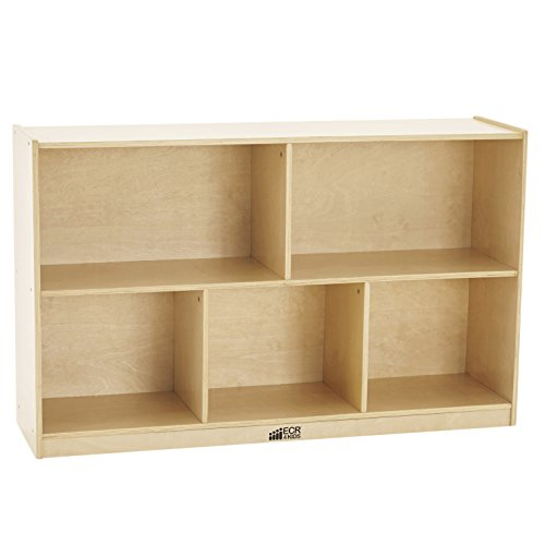 ECR4Kids Birch 5-Section School Classroom Storage Cabinet with Casters, Natural, 30