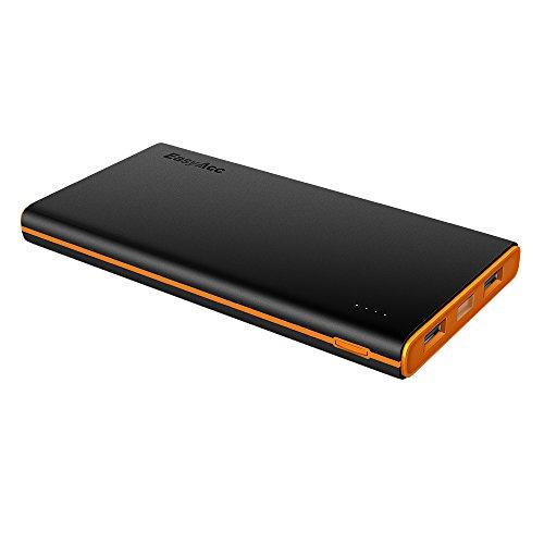 EasyAcc Batería Externa 10000mAh Portable 3.1A Salida Doble Puertos para iPhone iPad Samsung Tabletas Negro y Naranja