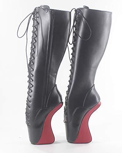 Women high WONDERHEEL Matte Boots Ballet Knee Lacing OSZzWZ6