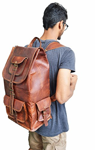 "jaald 16/"" Genuine Leather Retro Rucksack Backpack College Bag,School Picnic Bag"