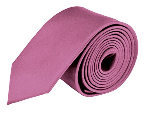 Ties For Mens Skinny Slim Silk Finish Fashion Long Necktie - Solid Color MDR - Rose Pink ()