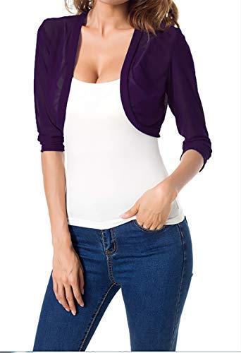 Tandisk Women's 3/4 Sleeve Bolero Sheer Chiffon Shrug Cardigan Purple M