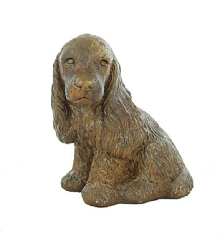 Solid Rock Stoneworks Sitting Cocker Spaniel Statue 12in Tall Tobacco Color ()
