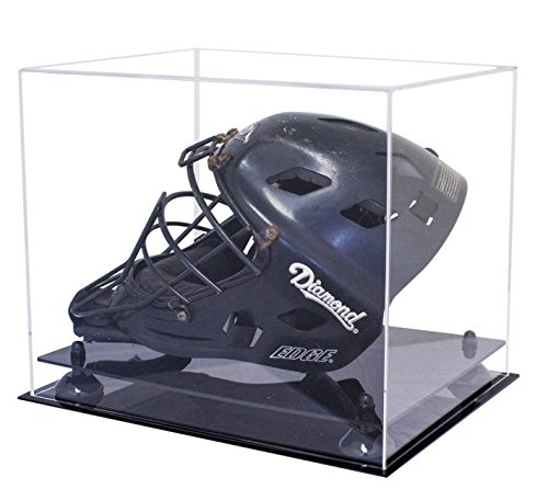 Deluxe Clear Acrylic Catchers Helmet Display Case with Black Risers (A002-BR)