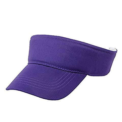 Opromo Adult Kids Cotton Plain Sport Sun Visor Adjustable Cap Tennis Golf Hats-Purple-kids - Cotton Tennis Hat