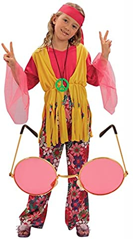 Girls 60s 70s Hippy Fancy Dress Costume Outfit with Pink Glasses Age 10-12