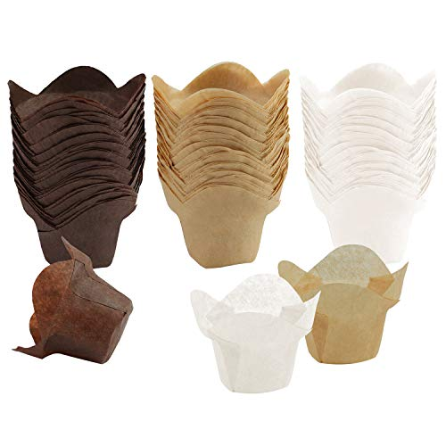 - Ruisita 150 Pieces Lotus Baking Cups Paper Cups Cupcake Muffin Liners Wrappers, Brown, Natural and White (150, Brown, Natural and White)