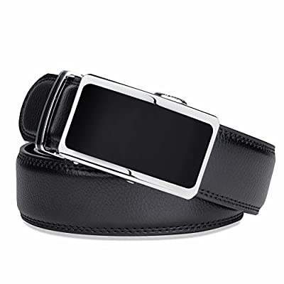 VBG VBIGER Mens Leather Belt Sliding Buckle Ratchet Dress Belt with Gift Box Black