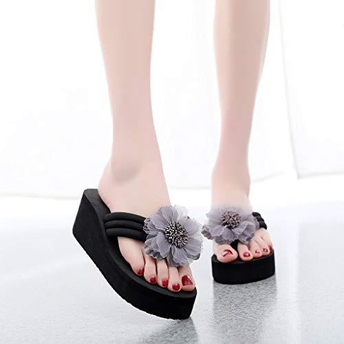 Chaussures Satin Femme Sandales Mousse Tongs Fleur Élégant Plage Compensées Gris À Talons Été Pantoufles Femmes Floral De rrqxHg0w