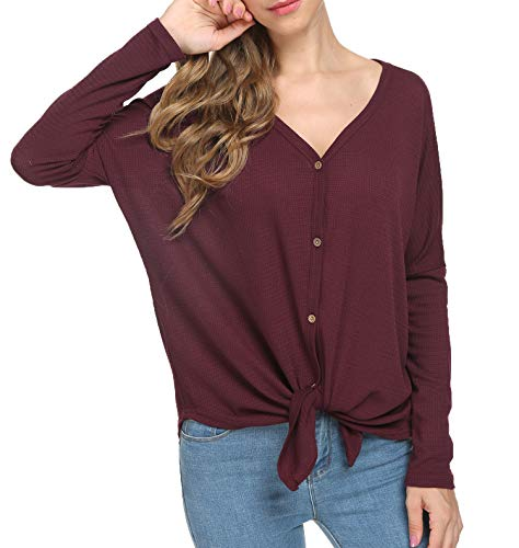 MOUEEY Womens Waffle Knit Tunic Blouse Tie Knot Henley Tops Loose Fitting Bat Wing Plain Shirts Wine Red XL