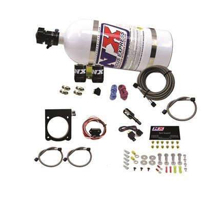 (Nitrous Express 20971-10 Nitrous Plate System Incl. 10 lb. Bottle/Lightning 500 Valve/Lightning Solenoids/Braided Lines/Master Arming Switch/50-200 HP Jetting/Hardware Nitrous Plate System)