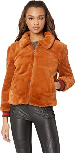 (J.O.A. Women's Faux Fur Bomber Jacket Camel X-Small)