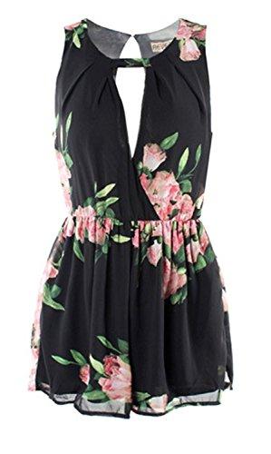Dawdyfu Women Summer Backless Flower Printed Chiffon Short Jumpsuit (S, black)