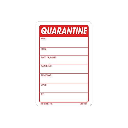 Quarantine Material Labels 3 Inch x 2 inch 500 per Roll by Ms Carita