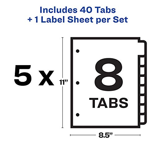Avery 8-Tab Binder Dividers, Easy Print & Apply Clear Label Strip, Index  Maker, White Tabs, 5 Sets (11437)