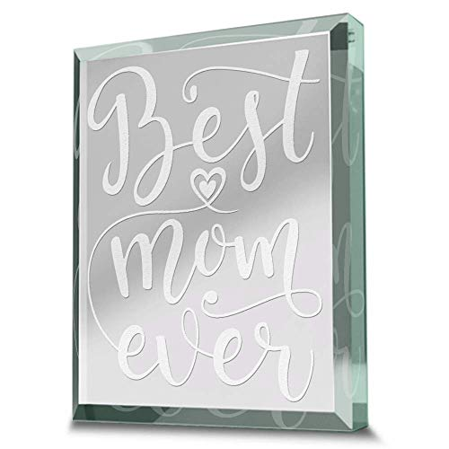 Bella Busta- Best Mom Ever- Mother's Day gift- Mother of the Bride Gift-Mother of the Groom Gift-Mom Gift-Engraved REAL GLASS Paperweight Keepsake (3.5