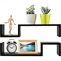 Greenco Set of 2 Decorative S Wall Mounted Floating Shelves- Espresso Finish