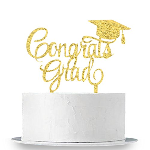 INNORU Congrats Grad Cake Topper - Class of 2018 Graduate Party Decorations Supplies - High School Graduation, College Graduate Cake (Graduation Icing)