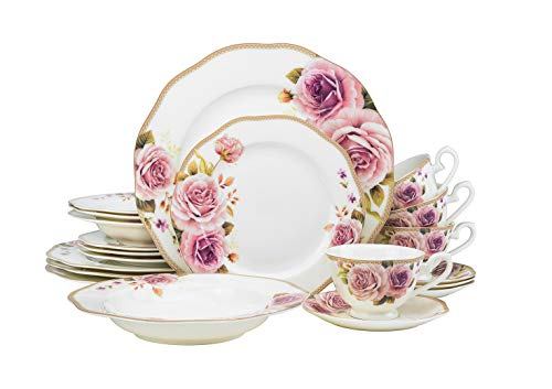 (EURO Porcelain 20-pc. Dinner Set Service for 4, 24K Gold-plated Luxury Bone China Tableware (