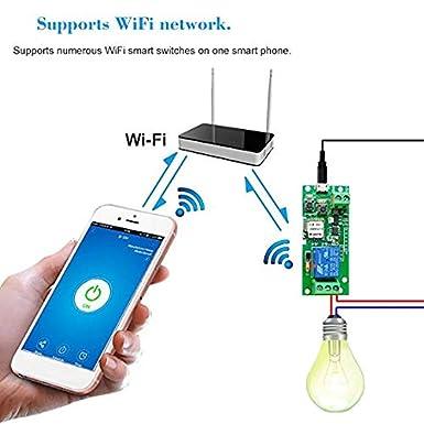 Owsoo Sonoff CC 5/V 12/V 24/V 32/V Interrupteur Wifi sans fil module de relais Smart Home Automation modules t/él/éphone App t/él/écommande minuterie Alexa Commande vocale pour syst/ème de contr/ôle d