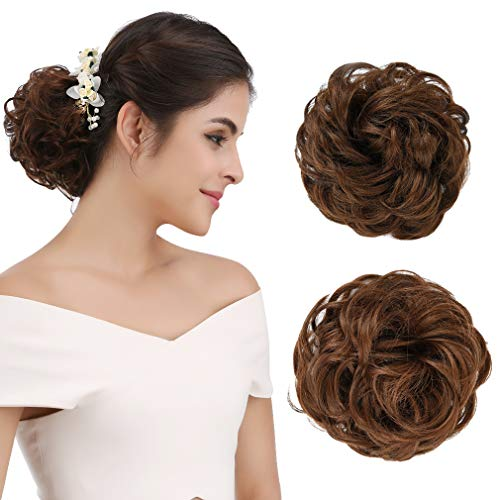 - REECHO Women's Thick 2PCS Curly Wavy Updo Hair Bun Extensions Messy Hairpieces - Medium Warm Brown
