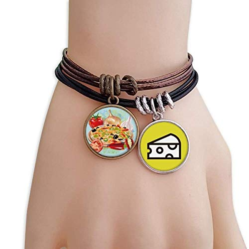 DIYthinker Pizza Italy Tomato Foods Garlic Bracelet Rope Sandwich Ornaments Wristband