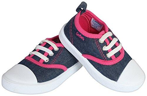 Gerber Baby Rubbersole Early Walker Slip On Sneakers (Infant/Toddler), Denim/Pink, 5 M US Toddler' by Gerber (Image #4)