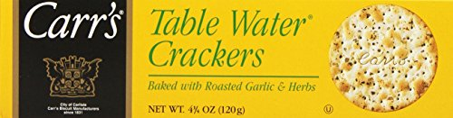 Carr's Table Water Crackers, Roasted Garlic & Herbs, 4.25-Ounce Boxes (Pack of 6) Cheese Herb Biscuits