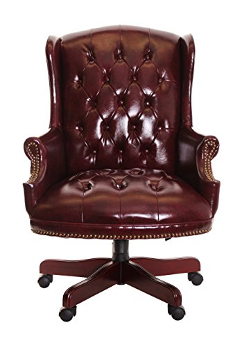 Burgundy Vinyl Executive Traditional Chair (TimeOffice Traditional Executive Chair Button Tufted Style Leather)
