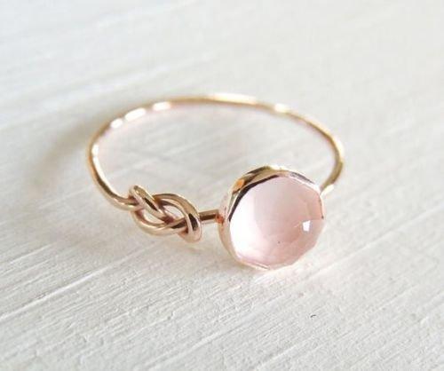 Piyada moda mujer rosa piedra lunar anillo relleno de oro rosa de 18K joyería de la boda, tallas6–10, 27 (9 USA)