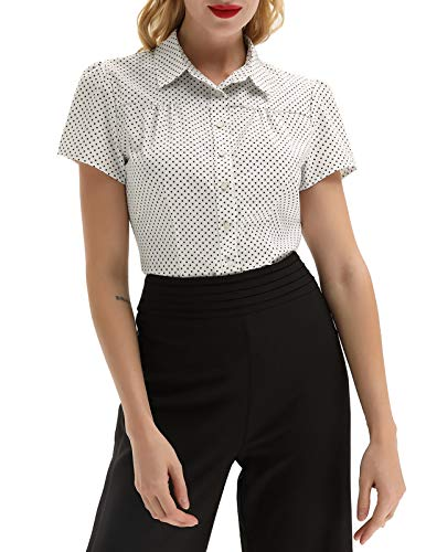 Womens Tailored Button Down Shirt Short Sleeve Ruched Blouse Tops Plus Size, Off-White, XX-Large