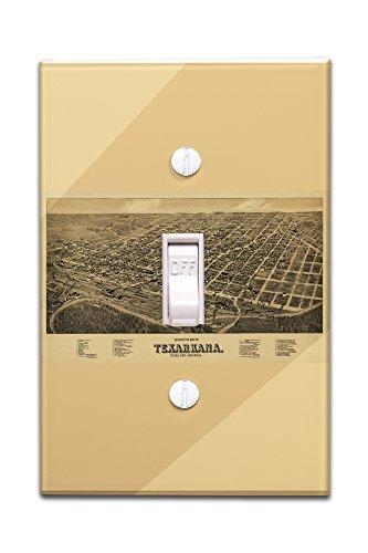 Texarkana, Texas - Panoramic Map (Light Switchplate Cover)