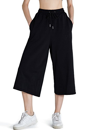 PULI Women Loose Wide Leg Workout Pants Drawstring Waist Comfy Chic Palazzo Joggers Lounge Pant with Pockets,Black,M