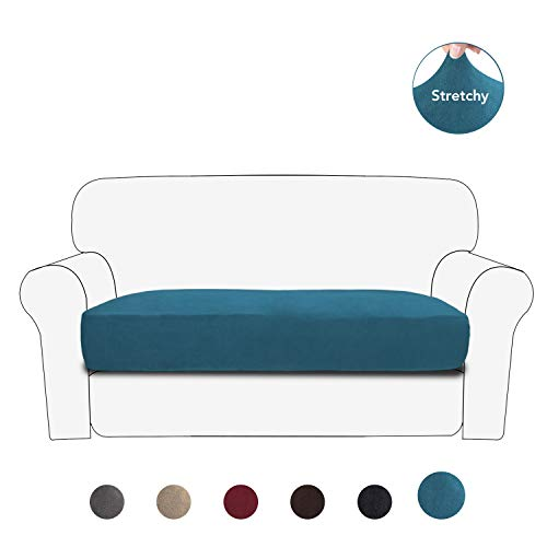 PureFit Stretch Velvet Non-Slip Sofa Couch Cushion Cover - Removable Sofa Seat Covers for Dogs, Washable Elastic Furniture Slipcovers Protector for Kids and Pets (Loveseat, Peacock Blue) (Loveseat Standard Length)