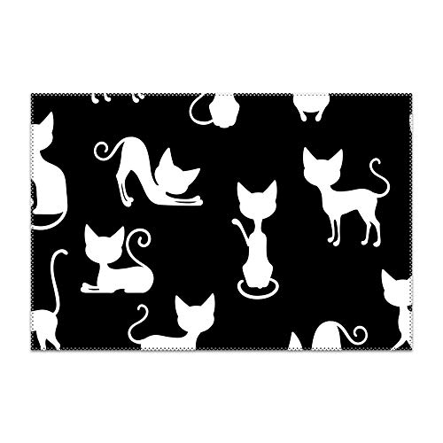 Price comparison product image yyoungsell Placemats Non-Slip Insulation White Cats Placemat Washable Table Mats Set of 6 (6pcs placemats,  Multicolors)