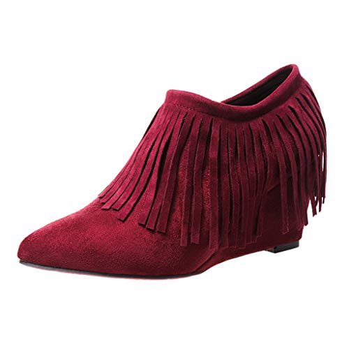 TnaIolral Women Boots Wedges High Heel Tassel Ankle Side Zipper Short Shoes Wine
