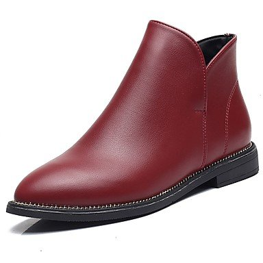 Comfort Calf For UK6 Boots Flat US8 Zipper Toe Shoes Pu EU39 Women'S Black Fall RTRY Fashion Wine Boots Boots Casual Pointed CN39 Heel Mid OIqfaBxw