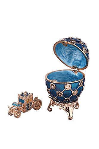 Decorative Russian Faberge Egg / Trinket Jewel Box with Carriage & Russian Coat of Arms light blue - Box Egg Jewel
