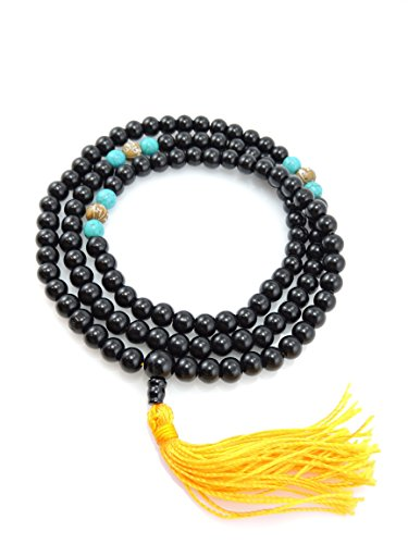 Black Onyx 108 Mala with Carved Om Mani Conch Shell Spacers for Meditation GM-01