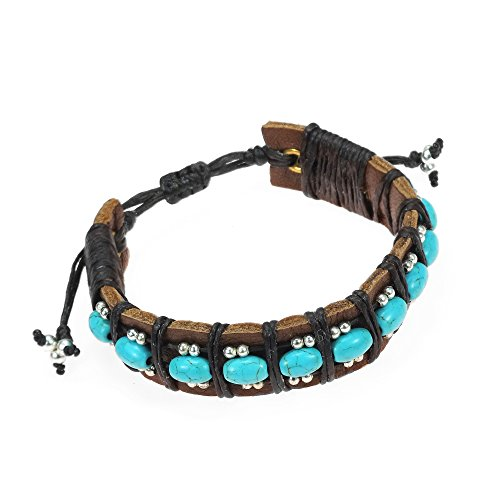 - AeraVida Bohemian Simulated Turquoise and Fashion Silver Beads Leather Adjustable Wrist Pull Bracelet