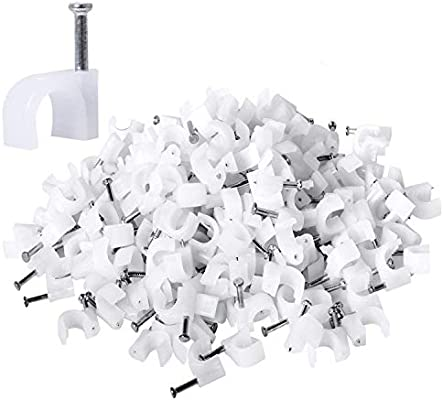 100-Piece 14mm Cable Clip with Nails White colour Nails slightly rusted