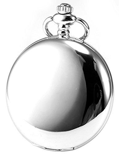 AMPM24 Vintage Silver Men's Women Ladies Quartz Pendent Pocket Watch Clock Chain Gift WPK027 by AMPM24 (Image #1)