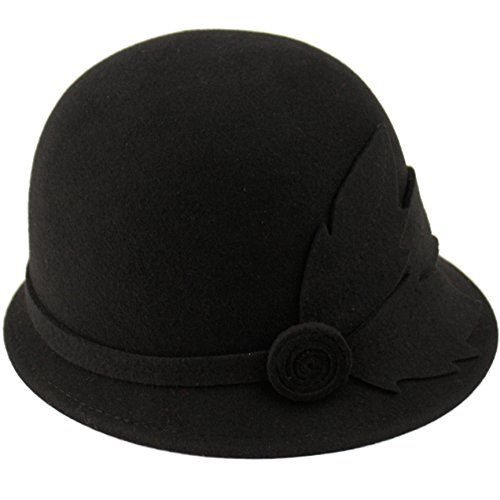 CL2163 Winter Wool 1920s Flapper Elegant Floral Beading Cloche Hat (BLACK) (Womens Hats From The 1920s)