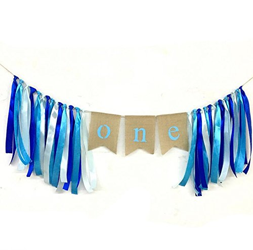 One Banner First Birthday Party Decorations 1st Birthday Burlap Pary Banner Garland for Boy (Blue) ()