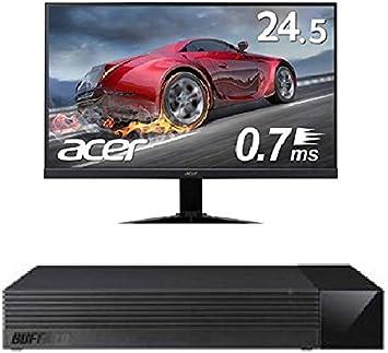 BUFFALO 外付けハードディスク 1TB TV録画用HDD採用 みまもり合図forAV対応 24時間連続録画 日本製 HDV-LLD1U3BA/N + Acer ゲーミングモニター KG251QGbmiix 24.5インチ 0.7ms 75hz TN FPS向き フルHD 非光沢 フレームレス