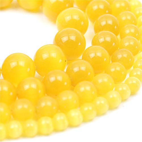 (Oameusa Natural Round Smooth 8mm Yellow Cat's Eye Agate Beads Gemstone Loose Beads Agate Beads for Jewelry Making 15