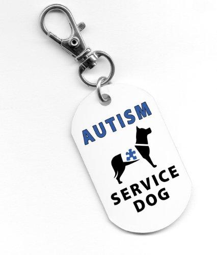 Aluminum Clam Blue (AUTISM SERVICE DOG Blue Medical Alert 1 x 2 inch Aluminum Dog Tag)