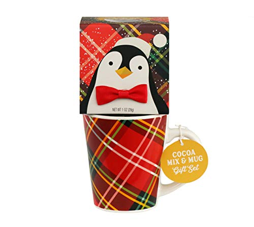 Thoughtfully Gifts, Penguin Holiday Cocoa and Mug Gift Set, Includes Ceramic Mug and Milk Chocolate Cocoa Mix (Hot Cocoa Set)